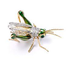 Gold Diamond Enamel Cricket