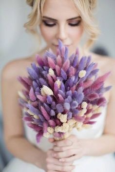 Every bride at the wedding will hold a bouquet of flowers, and this bouquet of flowers is the bouquet. The bouquet carries the happiness and sweetness of the bride and groom, so the choice of Read more… Purple Wedding Bouquets, Wedding Flower Arrangements, Bride Bouquets, Bridal Flowers, Flower Bouquet Wedding, Floral Arrangements, Greenery Bouquets, Dried Flower Bouquet, Dried Flowers