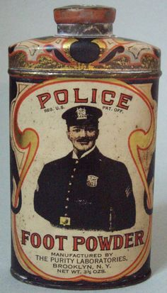 Police Foot Powder. FOR TIRED FEET: Advertising on front of product's tin can.