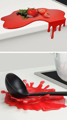 Splash and Puddle // a chopping board that drips off the edge, and a red splash . - Splash and Puddle // a chopping board that drips off the edge, and a red splash spoon rest (Love th - Objet Wtf, Cool Inventions, Gadgets And Gizmos, Spoon Rest, Kitchen Gadgets, Kitchen Utensils, Kitchen Tools, Cool Kitchens, Sweet Home