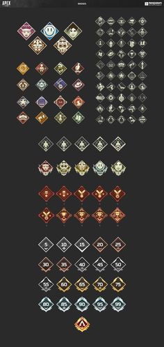 Icon design for character abilities as well as in-game badges, currency, and battle pass. Game Icon Design, Badge Icon, Inside Games, Custom Icons, Game Item, Badge Design, Canal E, Ui Inspiration, Reference Images