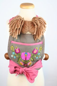 READY TO SHIP - mini mei tai for dolls - baby doll carrier for children - only for dolls or teddys - brown pink - hand embroidered - flowers by BagitKid on Etsy