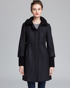 DKNY Hooded Knit Collar Empire Waist