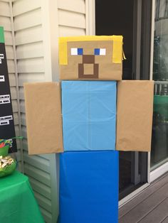 Home-made Steve from boxes, craft, and wrapping paper. It was life-size! Minecraft Birthday Party, Birthday Parties, Wrapping, Wraps, Boxes, Homemade, Diamond, Paper, Room