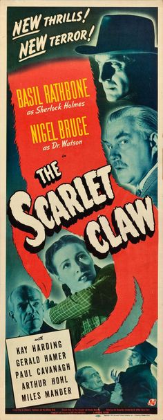 "Movie Posters:Mystery, The Scarlet Claw (Universal, 1944). Insert (14"" X 36"").. ... Image #1"