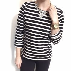 J. Crew Black & Cream White Striped Top Sz M NO TRADES  - J. Crew Black & Cream White Striped Top Sz M  - Structured top w/ exposed back zipper  - 100% Cotton; unlined  - Great used condition J. Crew Tops