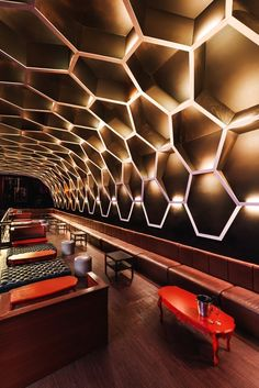 Like a nightclub for honey bees: LIGHT (Hermosillo, Mexico), latest entry in the Restaurant & Bar Design Awards Lounge Design, Bar Lounge, Design Hotel, Cafe Design, Bar Interior, Restaurant Interior Design, Luxury Interior, Modern Interior Design, Interior Architecture