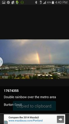 Double Rainbow over Metro Portland Oregon 10 22 14.