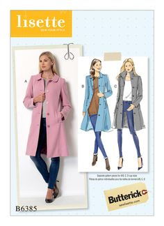 Butterick sewing pattern by Lisette. B6385 Misses' Funnel-Neck, Peter Pan or Pointed Collar Coats