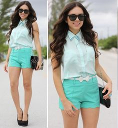 Jill Milan Bag, Romwe Scalloped  Shorts, Oasap Mint Sleeveless Blouse, Furor Moda Necklace, Furor Moda Turquoise Ring, Payless Shoes, Furor Moda Sunglasses