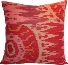 Red Linen Ikat Pillows