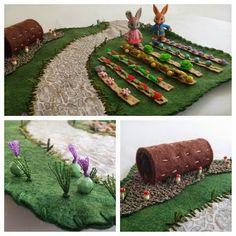 Felt Wool Whimsical Rainbow Garden Play Mat for Children on etsy
