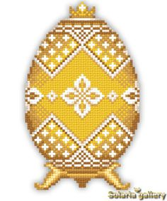"Pattern ""Yellow Faberge Egg with Silver Flowers"" - PDF download"