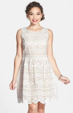 Soprano 'Fancy Lace' Skater Dress (Juniors) at Nordstrom.com. An intricate lace overlay brings darling feminine dimension to a sleeveless skater dress finished with a full scallop-hem skirt.