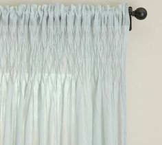 Smocked Drape #potterybarn This could be really pretty in your bedroom if we do the sheer linen ring kind in living room.