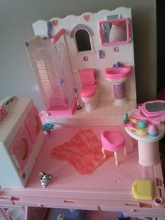 Barbie laundry, bathroom,  and vanity