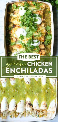 Rotisserie Chicken Enchiladas, Green Chicken Enchiladas, Healthy Rotisserie Chicken Recipes, Leftover Rotisserie Chicken, Enchilada Recipes, Authentic Enchilada Recipe, Green Enchilada Recipe, Best Chicken Enchilada Recipe, Chicken Enchilada Casserole