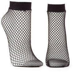 Charlotte Russe Fishnet Ankle Socks ($4.99) ❤ liked on Polyvore featuring intimates, hosiery, socks, black, tennis socks, ankle socks, charlotte russe, short socks and fishnet socks