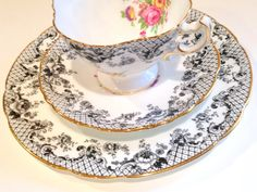 Hammersley Bone China of England crafted this fascinating tea cup, saucer and plate. It is their version of the very popular Senorita design. It was called pattern Happy Unbirthday, Wedding China, Pinterest Design, Antique Tea Cups, Tea Service, Afternoon Tea, Tea Set, Bone China, Cup And Saucer