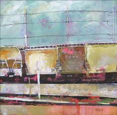 Lotsa Trainds on L & A Rd.  2012  mixed media on canvas  36 x 36 inches  $1800