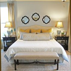 Traditional Bedroom Photos Master Bedroom Beige Design, Pictures, Remodel, Decor and Ideas - page 4 Bedroom Photos, Home Bedroom, Bedroom Decor, Bedroom Mirrors, Mirror Headboard, Bedroom Ideas, Bed Ideas, Master Bedrooms, Above Headboard Decor