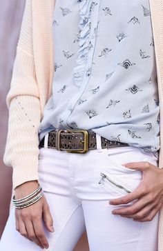 Hand crafted leather belt by BEDSTU. Featuring a brass metal buckle and a  cutout floral 11f438d2f8