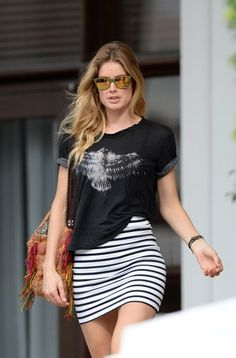 Doutzen Kroes, striped skirt and graphic tee