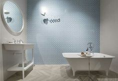 CERAMICHE SANT'AGOSTINO WITH THE NEW METRO CHIC COLLECTION IS A NOVEL DECORATIVE POSSIBILITIES SCENE. COMBINED WITH TWO SHADES BASIC DARK ELIGHT PROVIDES DECORATIONS IN PASTEL COLORS AS METROPAPER, 3D EFFECTS AND EMBOSSED PATTERNS (PHOTO BY LUCA PRIVITERA) Source: http://www.elledecor.it/en/cersaie/tile-bathroom-news-collections-2016-2017#1