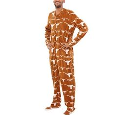 cbb1e2601 Texas Longhorns Orange Rambler One-Piece ''Mansie'' Footie Pajama Suit