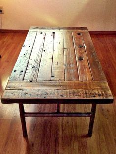 Industrial Coffee Table Made With Reclaimed Wood & Copper Pipe