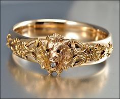 Victorian Bangle Bracelet 12K Gold Filled Lion Antique Jewelry Garnet Diamond Paste Wide Edwardian Jewelry FMCo