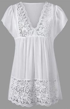 Lace Trim Cutwork Smock Blouse #blousesencaje
