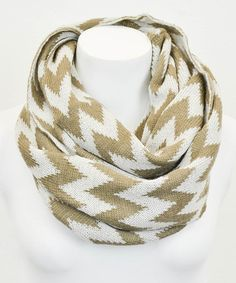 Love this Khaki & Gray Two-Tone Chevron Infinity Scarf by Leto Collection on #zulily! #zulilyfinds 8.99