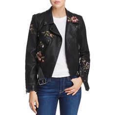 Aqua Embroidered Faux Leather Moto Jacket - 100% Exclusive (1 185 UAH) ❤  liked on Polyvore featuring outerwear, jackets, black, embroidered faux  leather ...