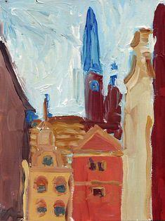 Paweł Świątek, Old Town - Danzig (acrylic on paper)