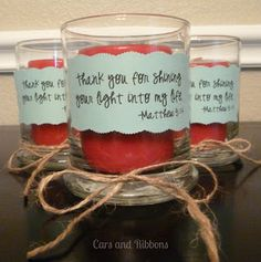 Cars and Ribbons: Shine Your Light Candle Gift
