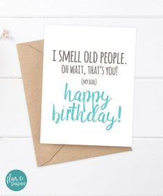 Funny Birthday Card – Boyfriend Birthday – Friend Birthday – Brother Birthday – Smells like old people – Older Brother – Older Sister - Geburtstag Birthday Gifts For Brother, Cool Birthday Cards, Happy Birthday Friend, Birthday Cards For Boyfriend, Birthday Wishes Funny, Birthday Cards For Friends, Happy Birthday Quotes, Birthday Crafts, Humor Birthday