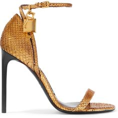 Tom Ford Python sandals (€1.155) ❤ liked on Polyvore featuring shoes, sandals, heels, tom ford, high heels, gold, gold strappy sandals, gold sandals, strappy high heel sandals and ankle strap heel sandals