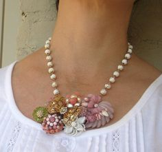 Shabby Chic necklace made from vintage brooches. LOVE!