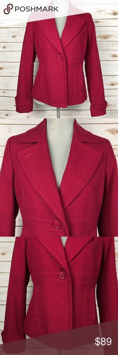 NEW {Talbots} 'The Grace Fit' Red Blazer Jacket V-Neckline Collar Long Sleeves Single Button-Front Closure Side Slit Front Pockets Lined Back Center Vent Style: The Grace Fit.   Shell: 100% cotton. Lining: 100% polyester.   Condition: NWT, New With Tags. Comes with extra buttons. Talbots Jackets & Coats Blazers
