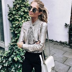 metallic blouse with neck tie