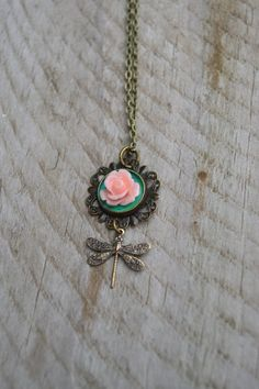 Dainty and beautiful pink rose cabochon necklace with Art Nouveau dragonfly charm by Valkyrie´s Song