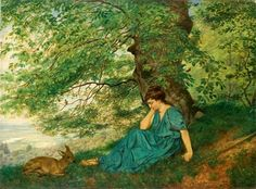 Hans Thoma, Diana under the tree, oil on canvas, cm National Museum, Wrocław (Poland) Inv. Austria, Hans Thoma, Caspar David Friedrich, Gustave Courbet, Expressionist Artists, Country Scenes, Adam And Eve, Mural Painting, Renaissance Art