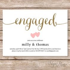 Engagement party invitation / Engagement Party Invite / Engagement Dinner / Couples Shower / DIY Printable by paperhive on Etsy https://www.etsy.com/listing/199240550/engagement-party-invitation-engagement