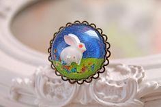 White bunny rabbit in resin  ring kawaii Lolita by DinaFragola