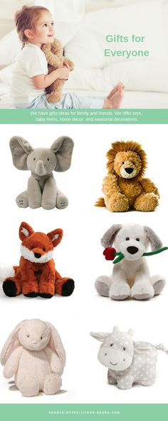 We have a great selection of baby safe plush animals and stuffed toys that are perfect gifts for your baby. Fast shipping and easy returns. Online Toy Stores, Toys Online, Baby Safe, Stuffed Toys, Plush Animals, Baby Items, Seasonal Decor, Teddy Bear, Children