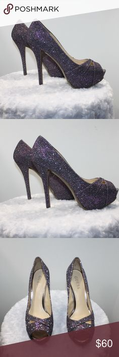 GUESS Purple Glitter Sparkle Heels 6 1/2 These Shoes are Super CUTE!  All Glitter and sparkle, they are in great condition, like new. Guess Shoes Heels