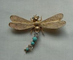 VINTAGE BRUSHED GOLD TONE RHINESTONE TURQUOISE DRAGON FLY PIN BROOCH #Unbranded