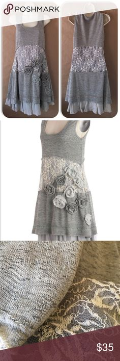 Ryu Anthropologie vintage Dress Grey with cream and grey lace.  Soirée mod retro vintage dress. Lined. Just a cute dress for any occasion. Anthropologie Dresses