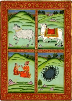 Painting. Zodiac signs. Ram, Mesha, Bull, Vrishabha, Couple, Mithuna, Crab, Karkataka. Gouache on paper. Rajasthan School Date: 1790-1810 (circa) From: India Materials: paper Technique: painted Height: 28.5 centimetres Width: 20.4 centimetres British Museum number: 1880,0.2207